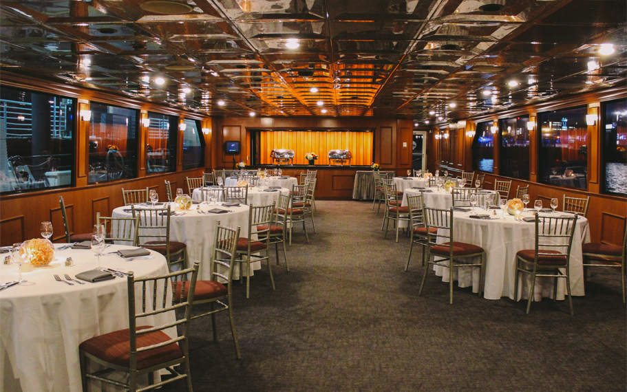 Boston Seaport Elite Luxury Yacht Dining Deck